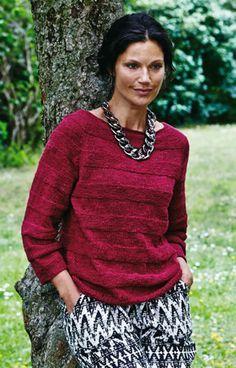 Familie Journal - strikkeopskrifter til hende Knitting Patterns Free, Knit Patterns, Crochet Tunic, Sweater Design, Long Sleeve Sweater, Knitwear, Tunic Tops, Clothes For Women, Scarlet