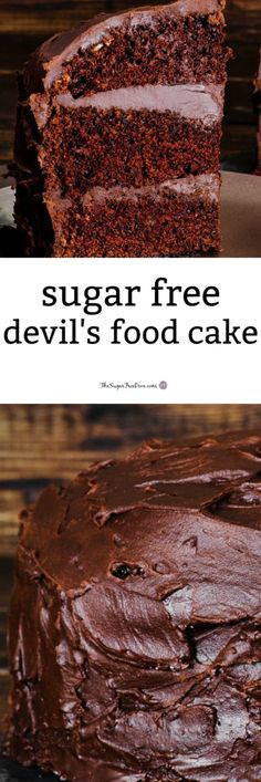 Sugar Free Devil's Food CakeYou can find Diabetic cake recipes and more on our website. Sugar Free Chocolate Cake, Sugar Free Deserts, Sugar Free Recipes, Baking Chocolate, Sugar Free Cakes, Diabetic Chocolate Cake, Chocolate Cake Recipe For Diabetics, Sugar Free Foods, No Sugar Desserts