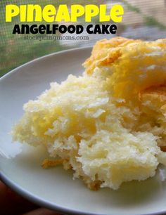 Pineapple Angel Food Cake is a light and healthy dessert choice.  Only 4 Weight Watchers points!  Your whole family will enjoy it!