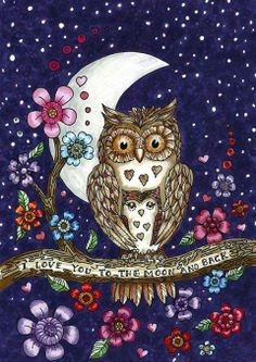 I love you to the moon and back - two owls on a branch