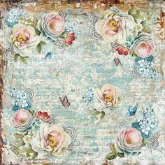 Stamperia - White Roses & Gear Wheels - Decoupage Rice Paper Napkin x Papel Vintage, Decoupage Vintage, Vintage Diy, Vintage Paper, Vintage Images, Collages, Blue Flowers Bouquet, Rice Paper Decoupage, Decoupage Art