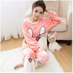 7a99333fd2 Autumn and Winter Women Pyjamas Sets Thick Warm Coral Velvet Suit Flannel  Long Sleeve Female Cartoon Bear Animal Pants Sleepwear