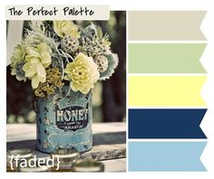Yellow, Pale Blue, Pale Green, Navy Blue and Neutral Browns Spring Color Scheme Palette