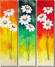handmade oil painting on canvas modern Best Art Flower oil painting original directly from artis Daisy Painting, Acrylic Painting Canvas, Painting On Wood, Mini Canvas Art, Canvas Wall Art, Art Floral, Art Mini Toile, Pallet Art, Abstract Flowers