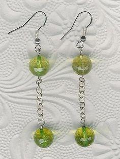 Earrings  Green Quartz Sterling Silver Long by ChicStatements