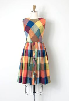 vintage 1950s dress / 50s plaid day dress / Autumn by SwaneeGRACE