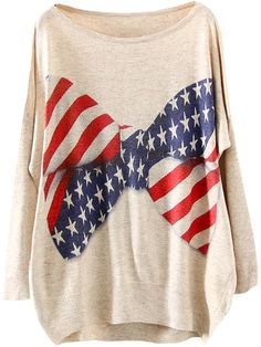 Apricot Long Sleeve Bow Star Print Loose Sweater 18.33
