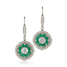 Mandala emerald and diamond earrings from the Kwiat Vintage Collection in 18K white gold