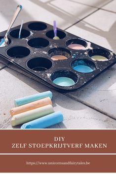 Zelf stoepkrijtverf maken, leuke vormpjes kneden met clay chalk en meer! Sensory Play, Romania, Cube, Muffin, Seeds, Muffins, Cupcakes