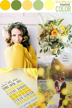 This sunshine-inspired, summery wedding palette from Bridal Guide brings together subtle greens and sunny yellows for a striking look.