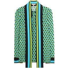 Michael Kors collection Printed Silk Blouse (6.280 RON) ❤ liked on Polyvore featuring tops, blouses, green, silk top, michael kors blouse, green top, blue silk blouse and green blouse