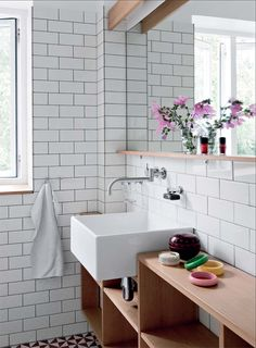 beautiful bright bathroom with white tile walls Handmade tiles can be colour coordinated and customized re. White Bathroom Tiles, Bathroom Renos, Laundry In Bathroom, White Tiles, Small Bathroom, Bathroom Wall, Tiled Bathrooms, Wooden Bathroom, Bad Inspiration