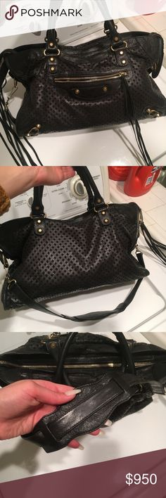 Balenciaga Special Edition Perforated City Bag I bought this from the Balenciagastore in Las Vegas myself.  Lightly used and has the strap !  *Smoke free home *Pet free home Balenciaga Bags Crossbody Bags