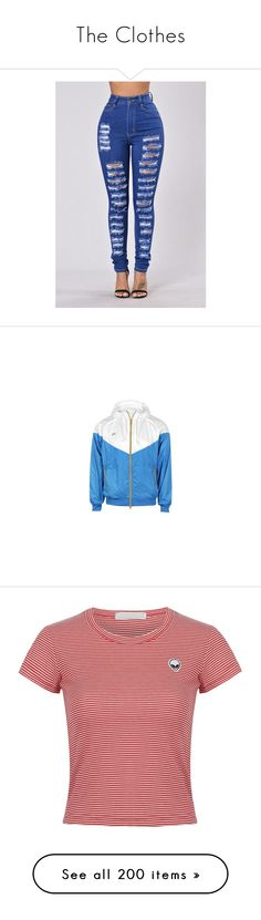 """""""The Clothes"""" by shecutetho on Polyvore featuring jackets, tops, nike, hoodies, blue jersey, nike jerseys, white jersey, t-shirts, red stripe t shirt and crop tee"""