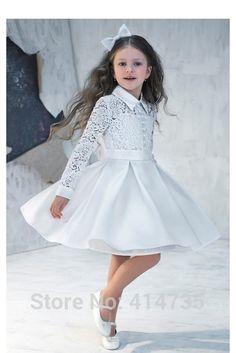Прекрасный A-Line Высокая Шея Полный Рукавом Длиной До Колен Кружева Атласная Цветочница Платье Для Свадьбы Кнопку
