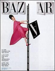 "Alexy Brodovitch using ""type as art"" here he integrates the model as a part of the title of the magazine - she's holding the missing A in Bazaar."