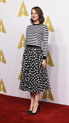 Emma Stone mixes stripes and polka dots with aplomb via @stylelist | http://aol.it/1CugPIA