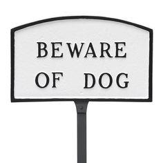 Arch Beware of Dog Statement Address Plaque