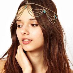 Fashion Womens Hamsa Hand Metal Head Chain Jewelry Headband Head Piece Hair Band