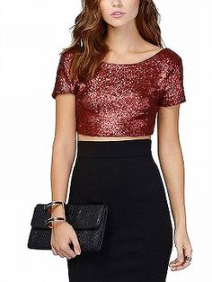 Sparkle Shorts, Crop Tops Online, Latest Fashion For Women, Womens Fashion, Sequin Fabric, Beautiful Dresses, Mini Skirts, Sequins, Street Style