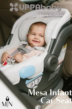 The Uppababy Mesa Infant Car Seat has multiple safety feautures, including an easy-to-grip carry handle with a stroller release bottom!