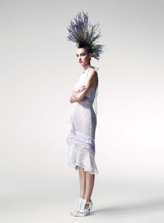 Maartje Verhoef in a Peter Copping for Oscar de la Renta organza and lace dress.