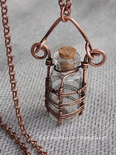 Bottle theme) – Bottles in a copper braid. As they just were not called) A bott… Flaschenthema) – Flaschen in. Wire Jewelry Designs, Handmade Wire Jewelry, Copper Jewelry, Wire Wrapped Jewelry, Beaded Jewelry, Natural Jewelry, Wire Jewellery, Pagan Jewelry, Jewellery Shops