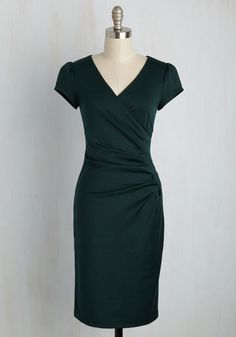 The moment your eyes locked onto this pine green sheath, you let out a sigh of relief - united at last with the perfect knit frock! The side-gathered waist and surplice neckline of this form-fitting dress works it for you both day and night.