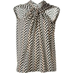 Lanvin front crisscross strap top (1.825 BRL) ❤ liked on Polyvore featuring tops, shirts, multicolour, white sleeveless top, loose shirt, white top, chevron tops and v-neck tops