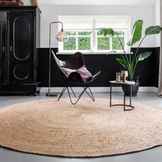 None - Afmeting: 240 Ø - Poolhoogte: 10 mm - Materiaal: Jute Sisal, Butterfly Chair, Rustic Chic, New Room, My Dream Home, Interior Styling, Interior Architecture, Mid-century Modern, Sweet Home