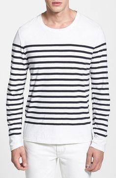 Men's Vince 'Engineered Breton Stripe' Pima Cotton Long Sleeve T-Shirt