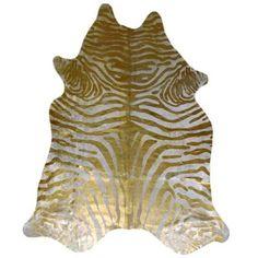 Tapis Peau de vache beige clair Impression zèbre d'or - Achat / Vente tapis - Soldes* dès le 10 janvier Cdiscount