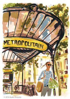 ayako onozuka #illustration #Fashion #Watercolor #Landscape #pari #イラストレーション