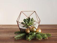 Geometric Glass Terrarium / Christmas Table Centerpiece / Handmade Terrarium / Modern Planter for Indoor Gardening / Stained Glass Terrarium