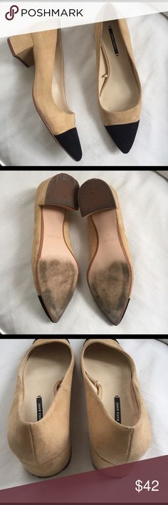 Zara Two-Tone Flats Worn once- great condition. Only signs of wear are on the soles.   ✔️Shipped ASAP   ✔️Bundles ❌Trades Zara Shoes Flats & Loafers