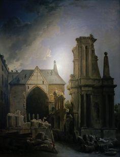 """Tableau représentant la démolition de l'église des Feuillants (oeuvre d'Hubert Robert, musée Carnavalet).- 19) L. DE MARILLAC: """"Cela ne me regarde pas""""; """"Voyez le roi""""; """"Il y a un procès en cours, il faut laisser faire les juges""""; que visiblement le Cardinal s'applique à ne pas découvrir Louis XIII: """"Il faut justifier l'action du Roi""""; que Louis de Marillac, sauf à certains moments de désespoir, s'a pas cru et ne pouvait croire que ce fut Richelieu, un ancien ami, un obligé, qui pût ...."""