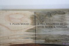Aged tea stain finish for raw wood using tea, steel wool and vinegar.  The more you use, the darker the stain.
