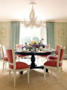 this looks like a good fusion of our aesthetics for a dining area.. reading vogue over brunch?