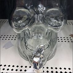 In-store presentation of this Glass Skull Halloween Beverage Dispenser reminds shoppers that the Holiday approaches and preparatory purchases. Halloween Drinks, Halloween Skull, Beverage Dispenser, Skulls, Wedding Stuff, Beverages, Retail, Glass, Diy