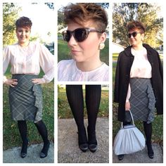 Lady-like lace Peter Pan blouse Ruffle express skirt Striped express tights Ninewest pumps Vintage pearl earrings