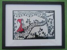 Little Red Riding Hood papercut. Original, hand drawn 'Little red riding hood' papercut by Nina Byers