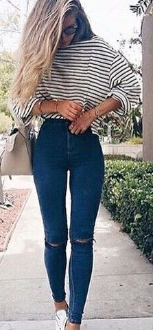 #summer #hot #weather #outfits |  Stripes + Skinnies
