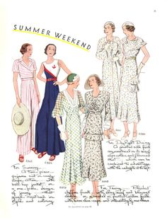 A gorgeous selection of attire for a summer weekend from the July-August 1932 issue of McCall's magazine.