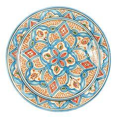 Keramiikka-astia, 36 cm, sininen-oranssi