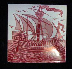 William De Morgan Ruby Lustre Tile