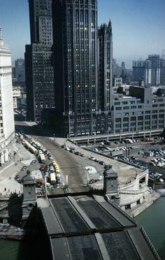 Bridge up on Michigan Ave, 1952, Chicago