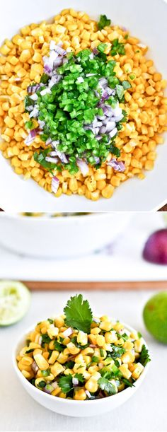 Copycat Chipotle Corn Salsa - Be prepared to scroll down to finally get to the recipe. Chipotle Corn Salsa, Chipotle Recipes, Salsa Salsa, Healthy Snacks, Healthy Eating, Healthy Recipes, Bruschetta, Guacamole, Veggie Dishes