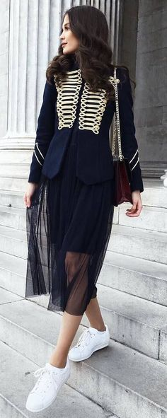 fashion trends | blazer + midi skirt + sneakers