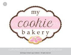 Bakery Logo With Pink Cookie Illustration by DesignOrchard on Etsy, $45.00