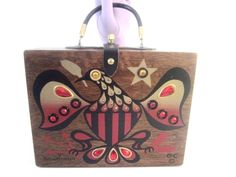 "Absolutely gorgeous original #EnidCollins of Texas 1964 Original Box Bag titled ""Americana"", initialed on front and signed inside. Most attractive bejewelled eagle you will ever see! Mahogany Wood Purse is in excellent condition, True #wearable art!"